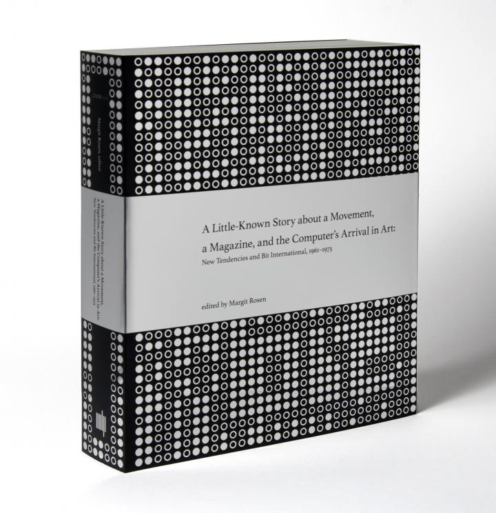 A book with a silver and black cover: The silver dots are arranged  in the form of punched paper tape. The pattern hides the word »bit«, equally written in dots.