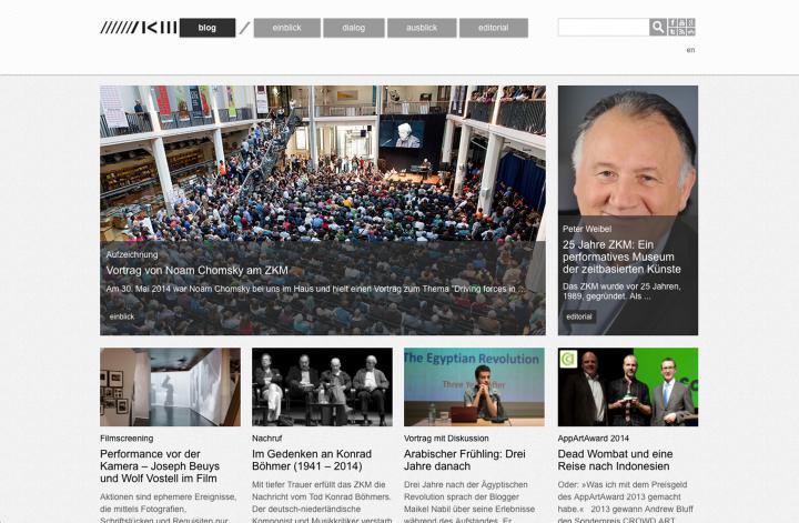 Screenshot of the online publication »ZKM-Blog«