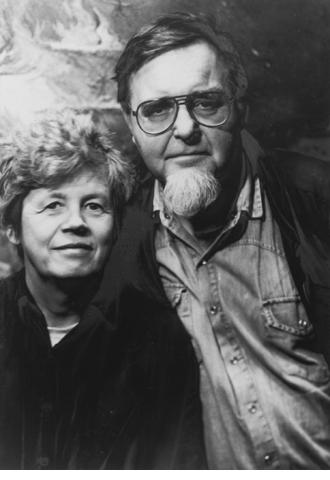 Portrait of Steina and Woody Vasulka in black and white