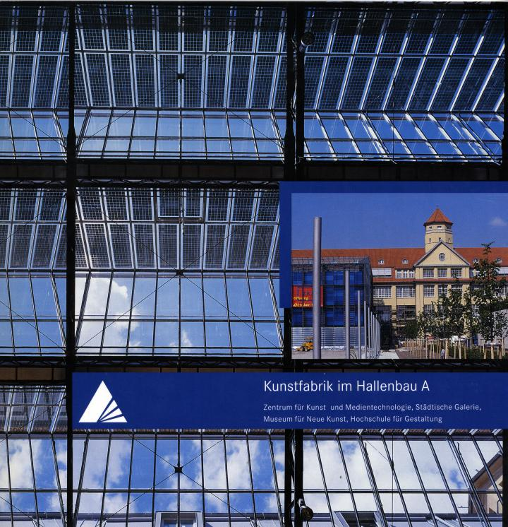 The cover shows the sky, seen through the glass roof of the ZKM, and an exterior view of the museum as well as the glass cube.