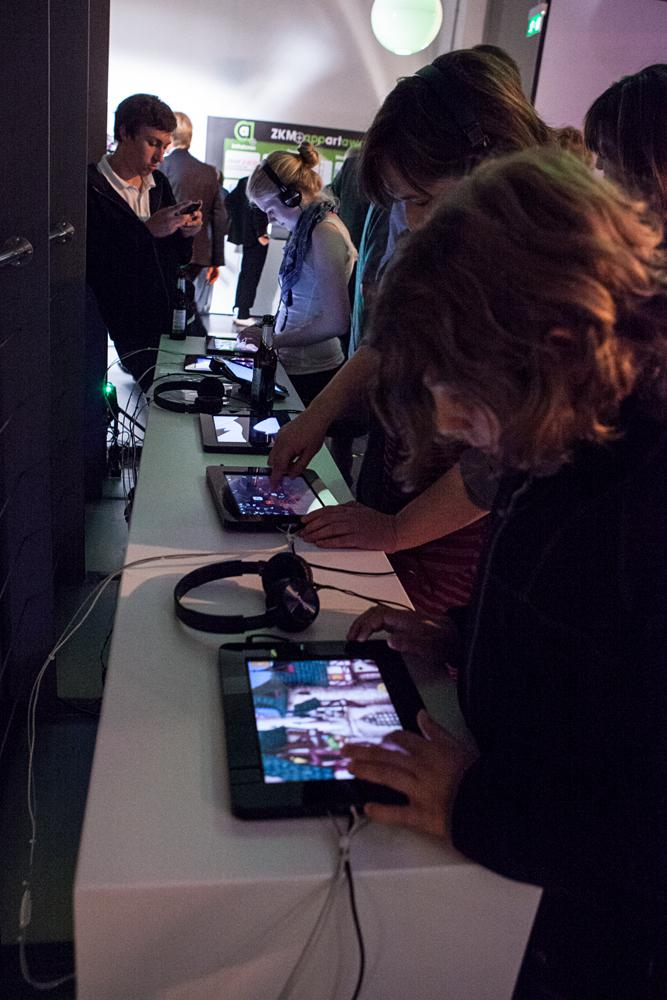 People test apps on tablets