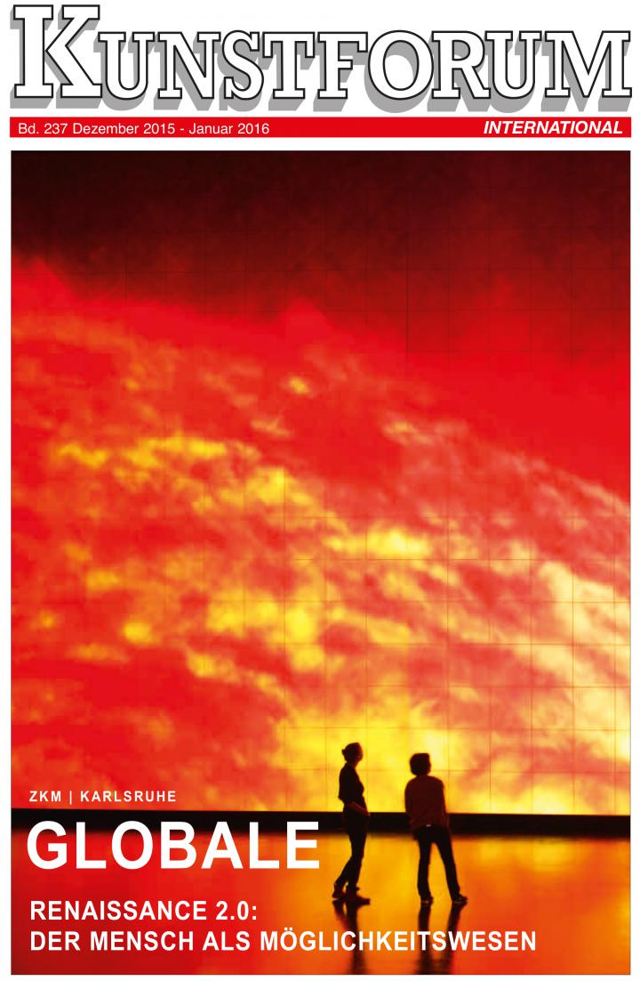 Cover of the magazine »Kunstforum«: Two people standing in front of a projection showing solar flares.