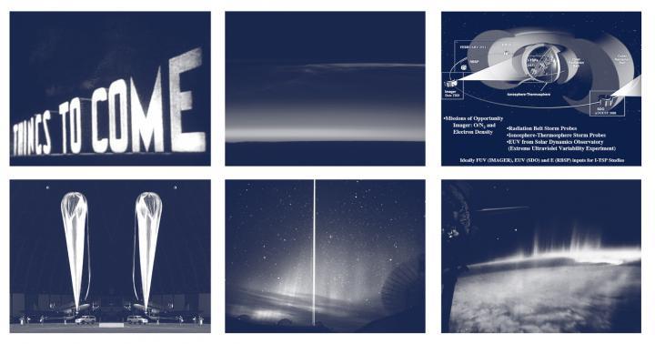 Sechs Bilder von der Atmosphäre