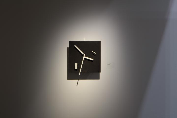 Ausstellungsansicht von Jean Tinguely, »Do-it-yourself-sculpture«, 1961