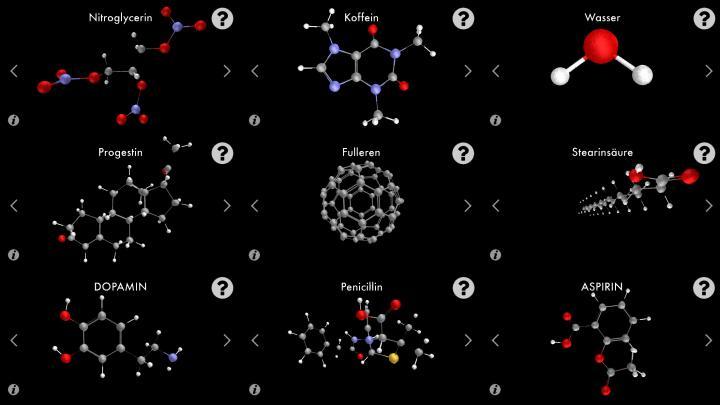 Schwarze Fläche mit schematischer Darstellung von Molekülen.