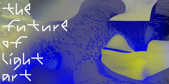 White lettering »The Future of Light Art« on blue-yellow structures