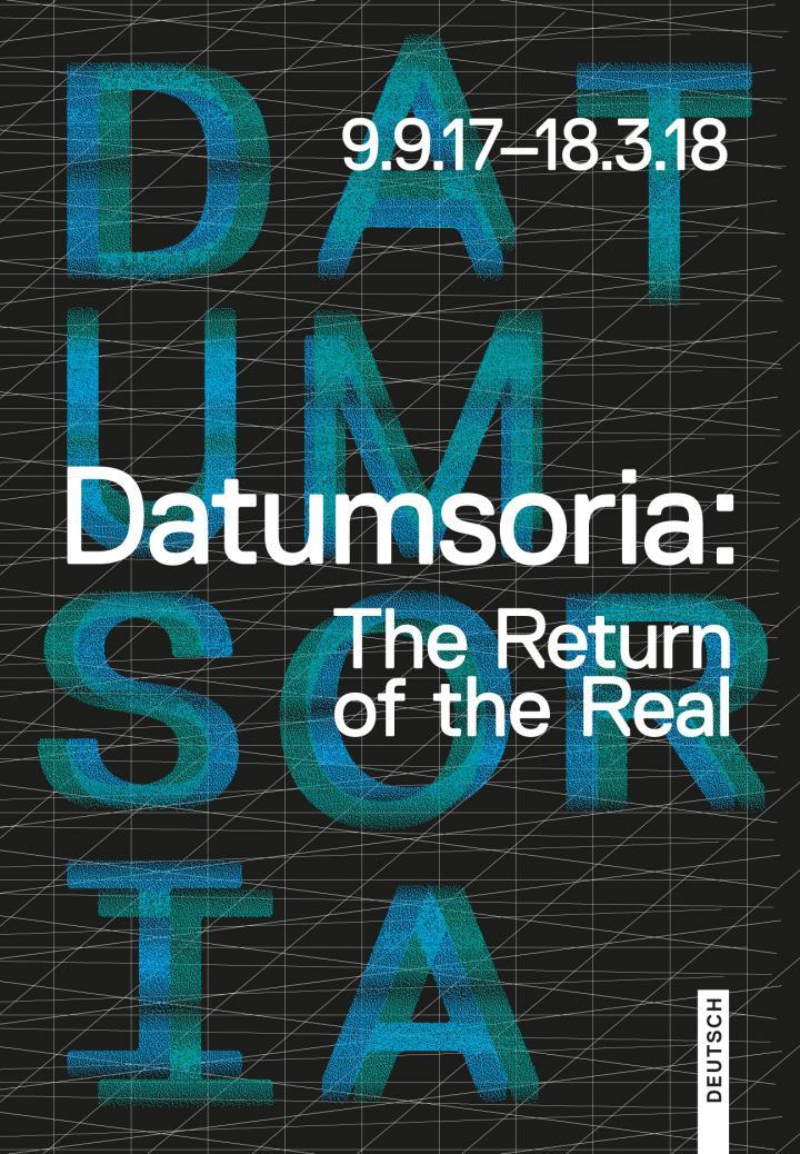 Schwarze Titelseite mit weißem grafischem Raster, weißer und baluer Schrift.