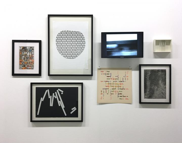 Wall with works by the artists of the exhibition series »Poetic Expansions«