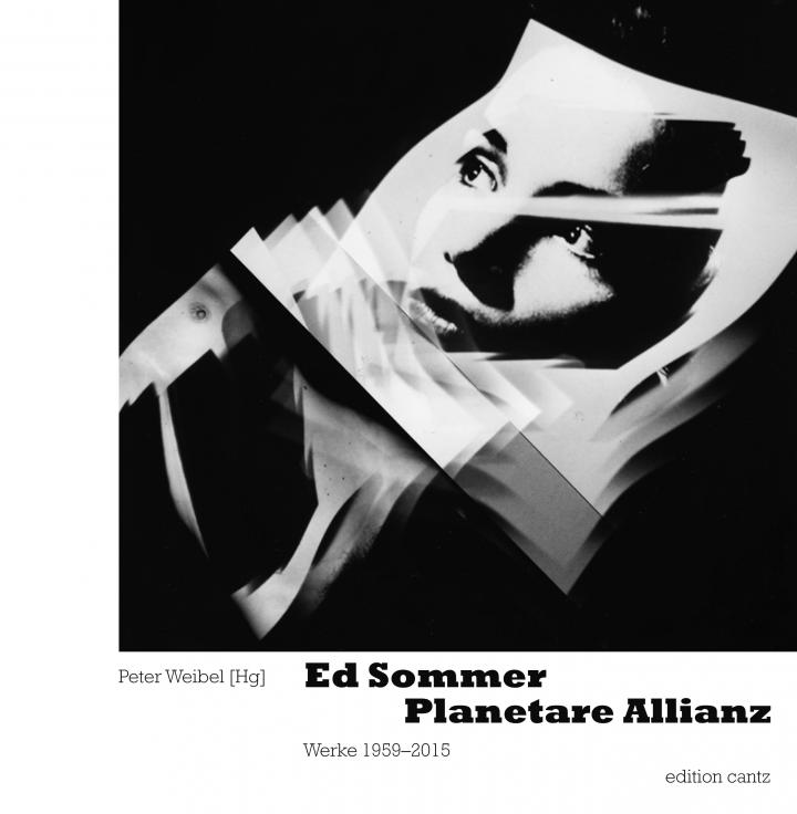 "Cover of the book ""Ed Sommer. Planetary Alliance"": Black-and-white photo of a woman's face floats in black space"