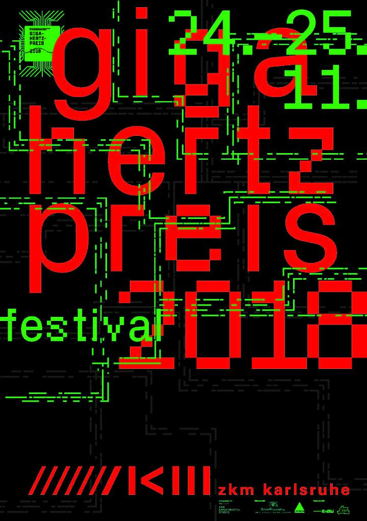 Cover of the publication: Giga-Hertz-Preis 2018. Red and green lettering on black background.