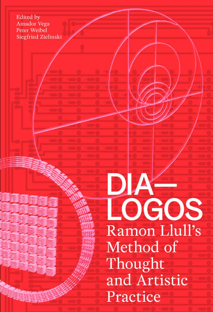 "Cover of the publication ""DIA-LOGOS"": white writing on red background"