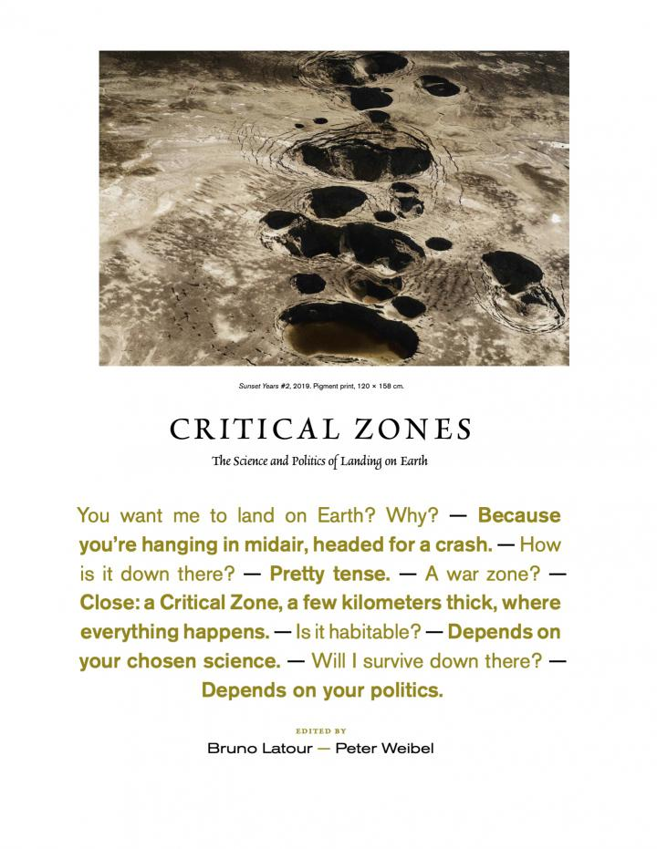 On view is the cover of the publication accompanying the exhibition Critical Zones. It shows a picture of a landscape shaped by craters. Below it is a short dialogue about how it feels to land on earth.