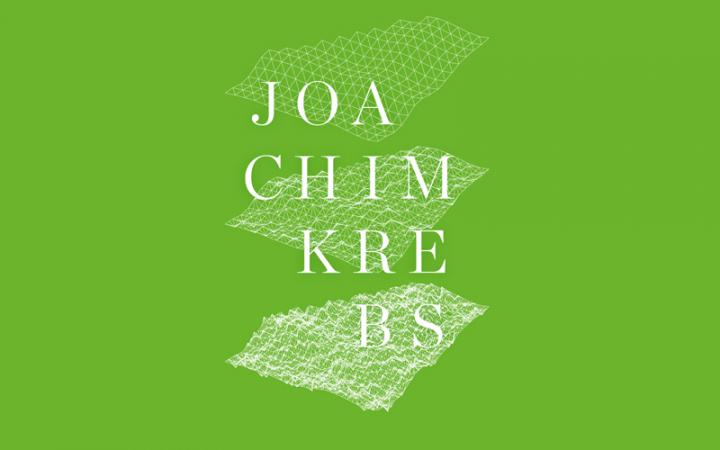 The graphic shows the inscription Joachim Krebs as well as three lattice structures on a grass-green background