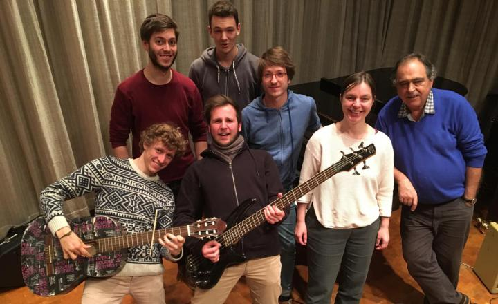 """The picture shows seven members of the guitar group """"Moving Sounds"""""""