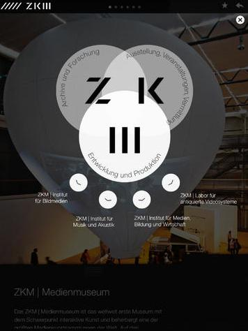 Screenshots of the app »ZKM Guide«