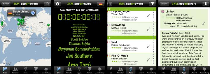Screenshots of the app »AppArtAward 2011«