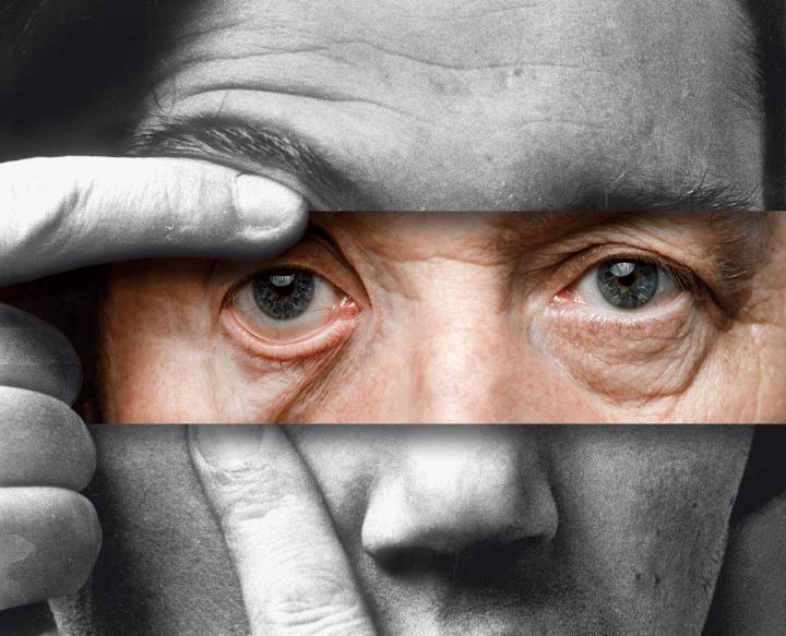 Eine Fotomontage aus drei Streifen, sie zeigt das Portrait von Peter Weibel in jung und alt.