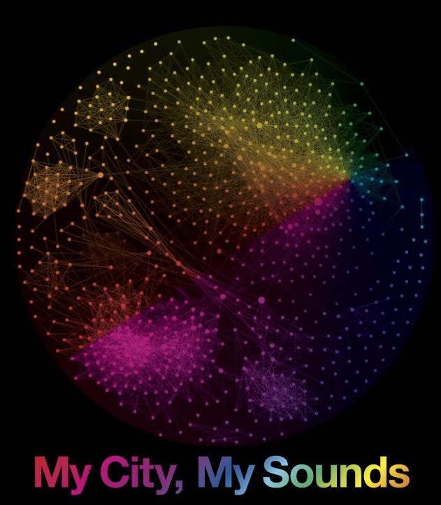 Poster of the project »My City, My Sounds«: color dots and text on black background