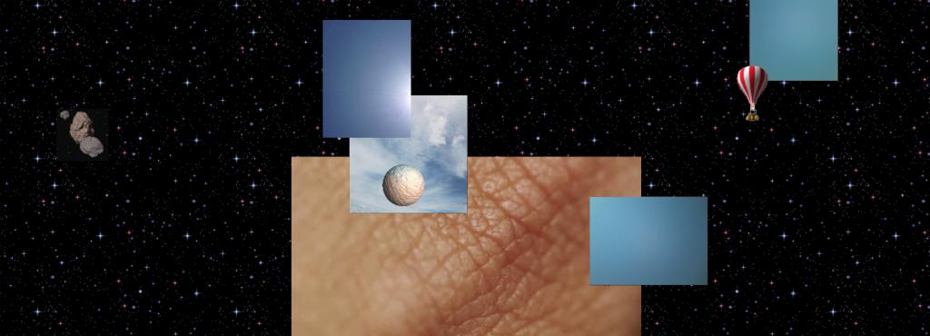 Various graphics, one of it depicting human wrinkled skin tissue, lie on a background of universe.