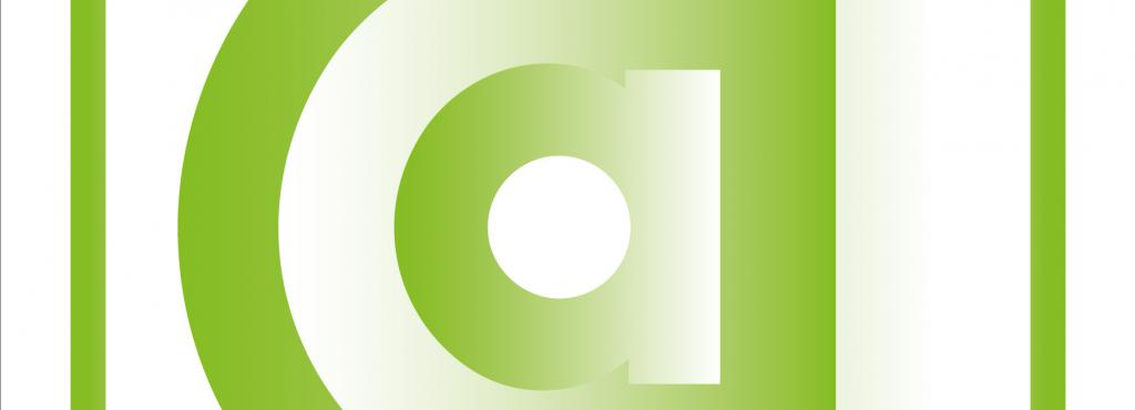 a small a in different green colors