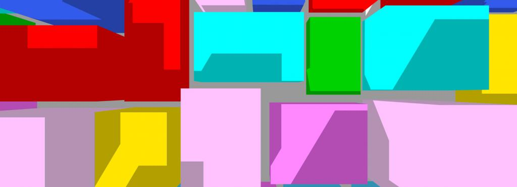 Different colored, 3D cubes.