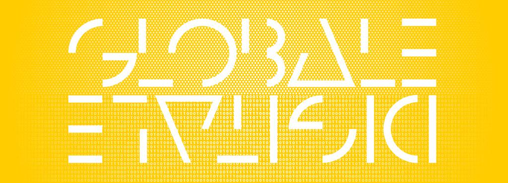 A yellow background. In white letters GLOBALE and upside-down DIGITALE