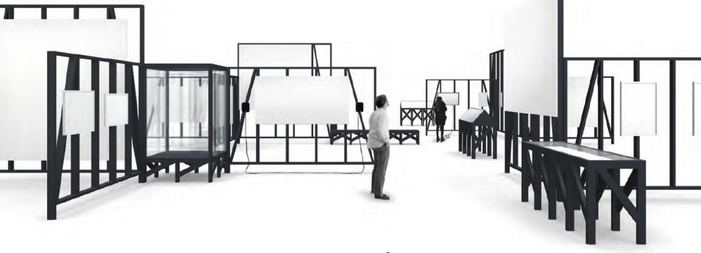 Sketch of exhibition architecture with various modules