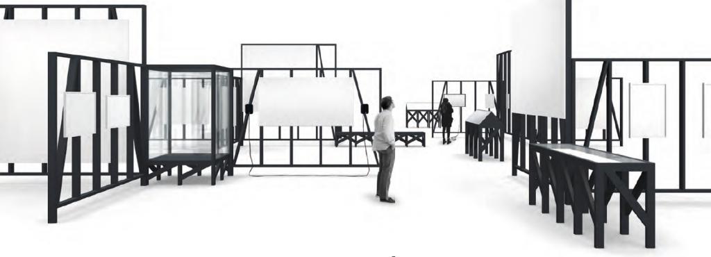 Skizze der Ausstellungsarchitektur mit verschiedenen Modulen
