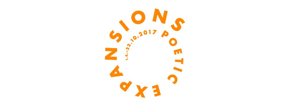 Orangerer Schriftzug »Poetic Expansions« auf weißem Grund