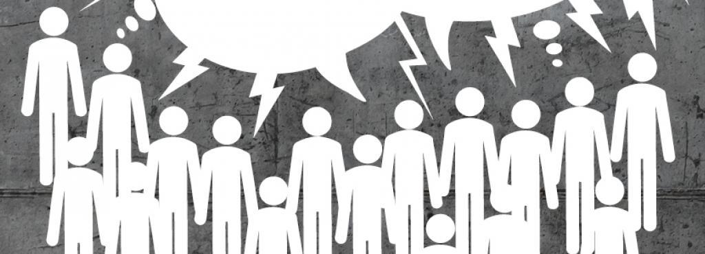 Über einer Gruppe von Menschen steht in einer Sprechblase »Die pluralistische Gesellschaft und ihre Feinde«
