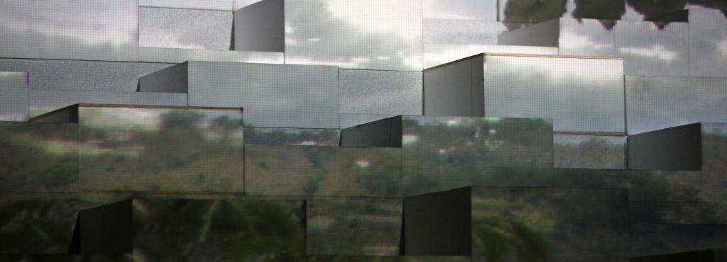 Eine Landschaft, aufgebaut auf verschiedenen Kuben