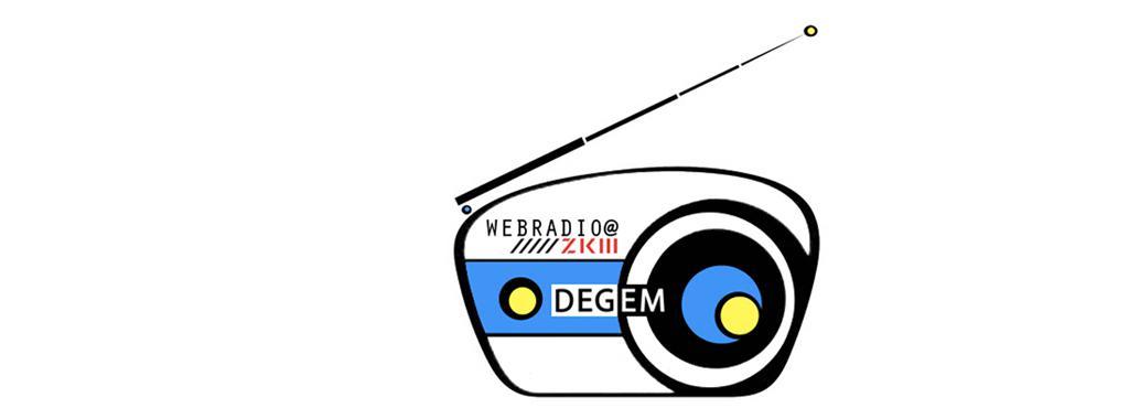 Stilisiertes Radiogerät in Schwarz, Weiß und Blau