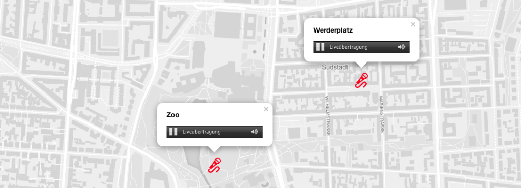 Screenshot der App »My City, My Sounds«: Stadtkarte mit Symbolen