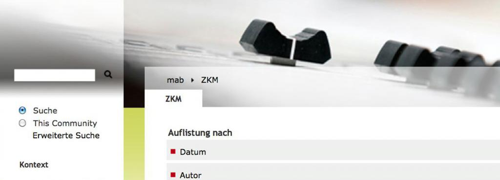 Screenshot of the web-site »mediaartbase.de«