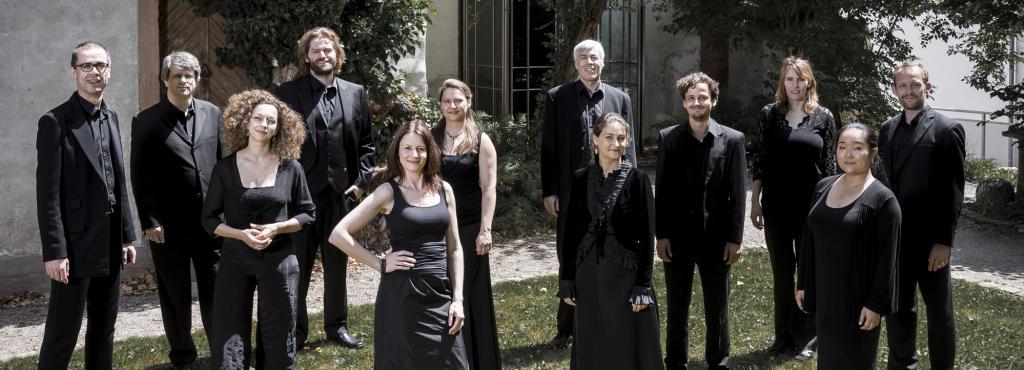 Das Foto zeigt die MusikerInnen des KlangForum Heidelberg, allesamt in schwarz gekleidet, auf einer grünen Wiese.
