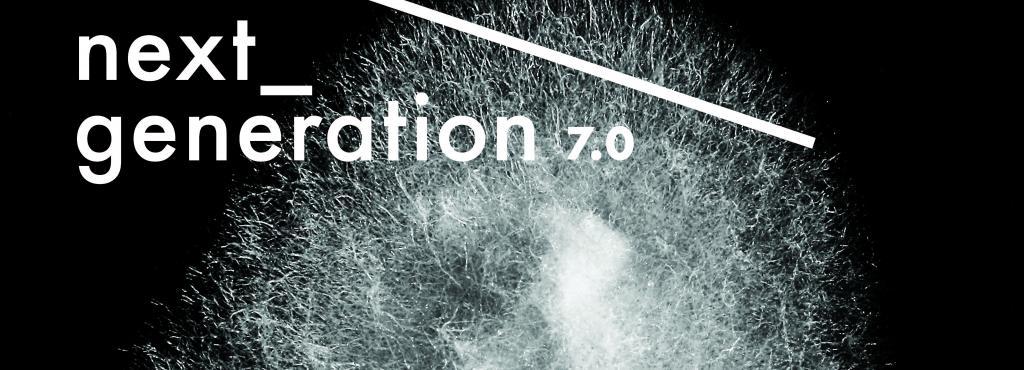 Das Bild zegt das Plakat für das internationale Treffen elektronischer Hochschulstudios, »next_generation 7.0.SENSORIK«