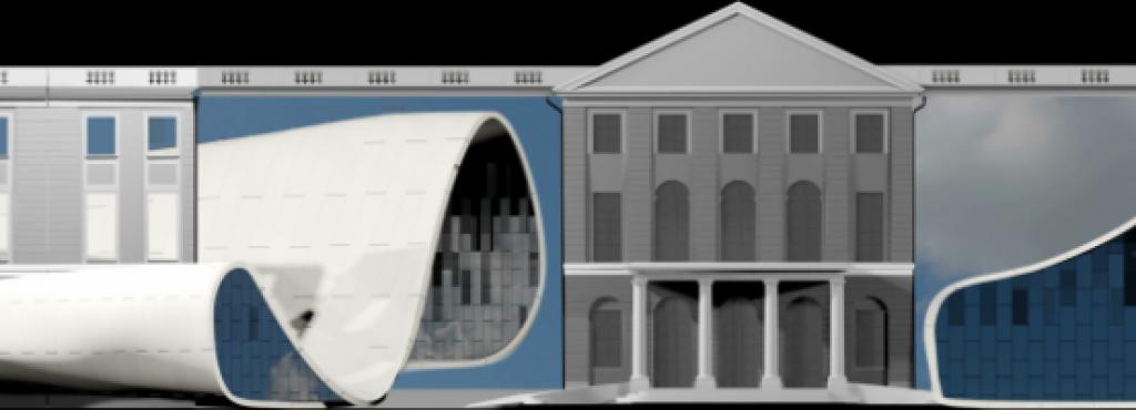 Entwurf eines Projection Mapping der Gruppe »URBANSCREEN« auf einer simulierten Schlossfassade
