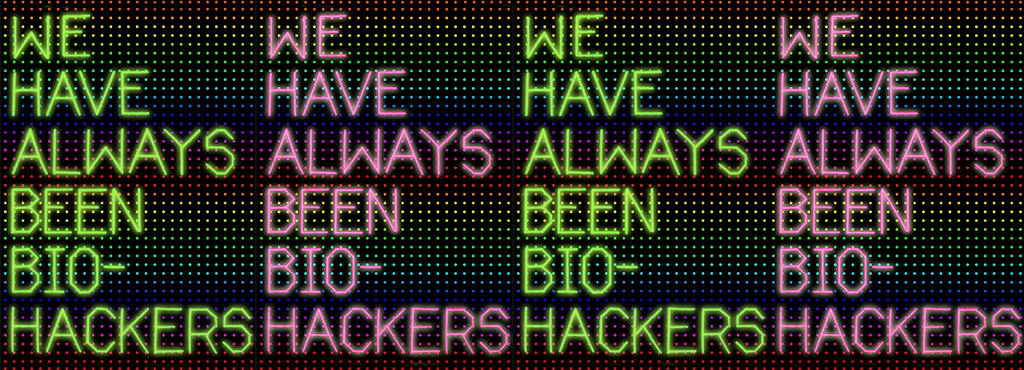 On top of pixeldots in rainbowcolor is the same testemony written over and over again in green and pink »WE HAVE ALWAYS BEEN BIO-HACKERS«