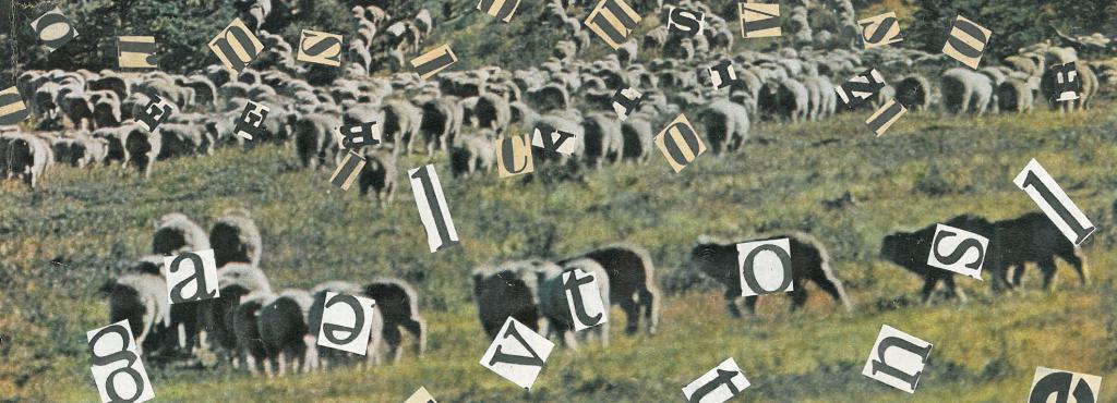 A collage shows a sheep flock on a green mountain slope under a red sky. Everywhere in the sheep are cut-out letters from newspapers glued.