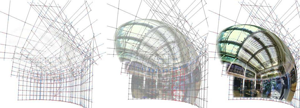 Three grids on which more clearly apicture of the ZKM_Foyer is shown
