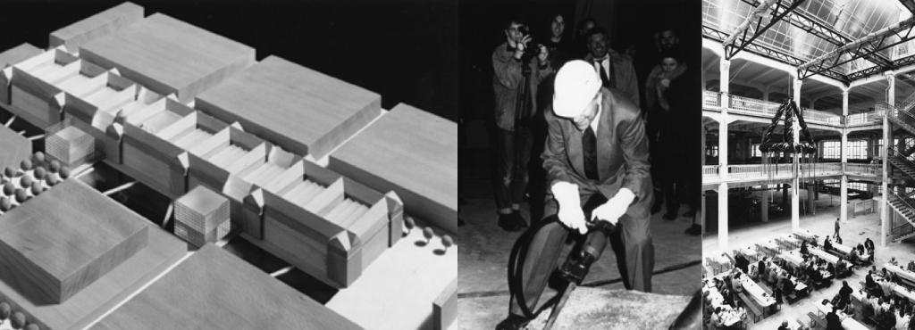 Vlnr: Entwurf des Umbaus, Heinrich Klotz beim Spatenstich, festliches ZKM_Foyer