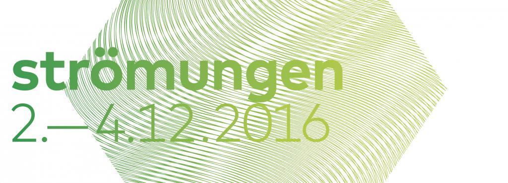 Plakat zum Symposium »Strömungen«, grüne Raute mit Text