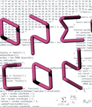 The lettering »Open Codes« in magenta against a background of code.