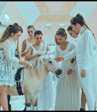 The photo shows a white pony surrounded by seven girls in white clothes.