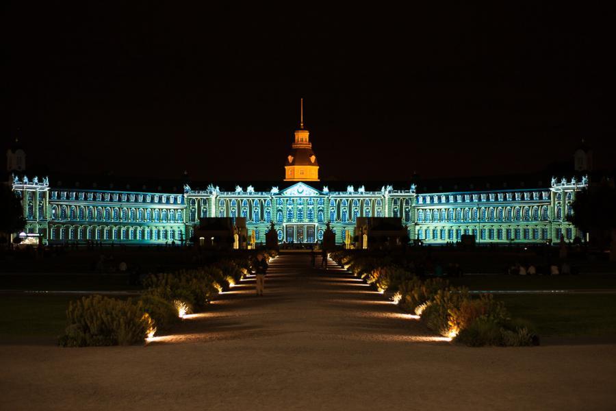 The blue-green Karlsruhe palace facade