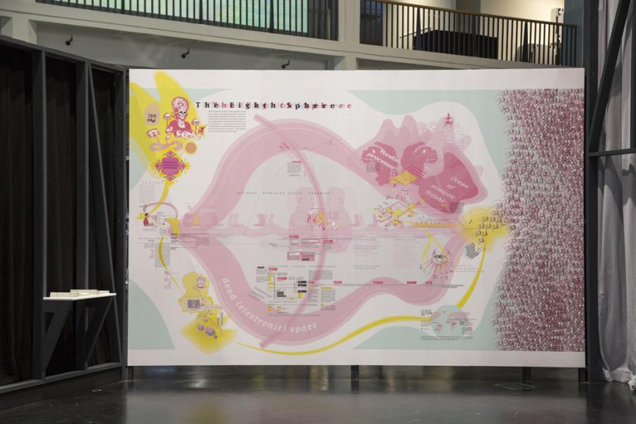 Eine Karte mit gelben und rosafarbenen Elementen wie ein Totenkopf, Berge und  Drachen