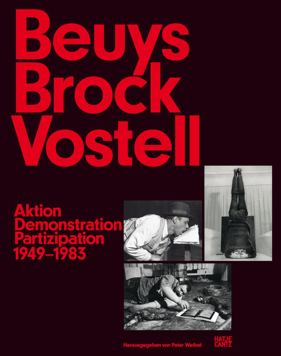 Cover of the publication »Beuys Brock Vostell«: red text on black background, three black and white photos.