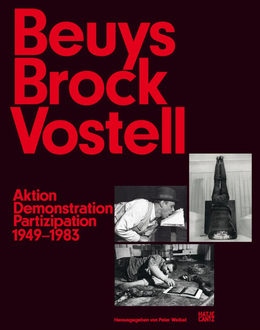 Cover der Publikation »Beuys Brock Vostell«: rote Schrift auf schwarzem Grund, drei Schwarzweißfotos.