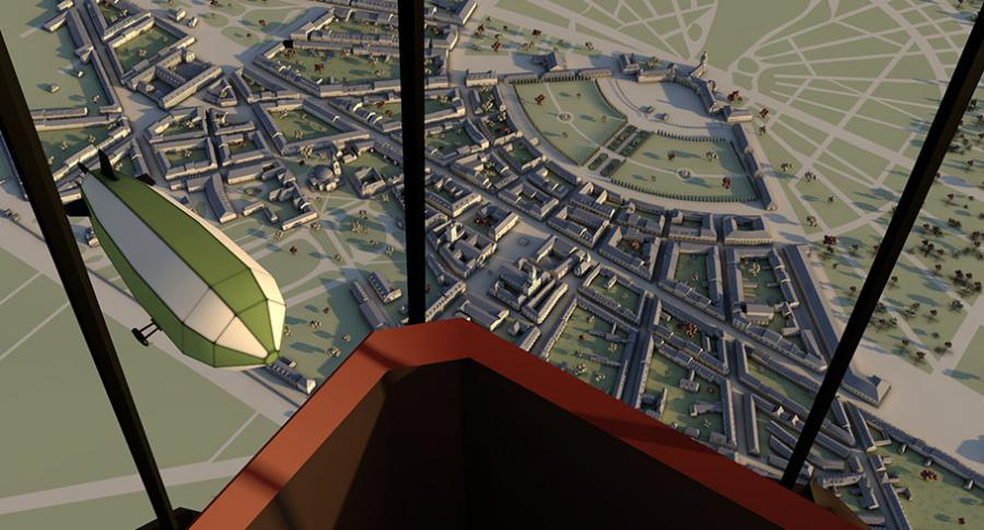 View from a hot-air balloon on a Zeppelin and the City of Karlsruhe in 1834