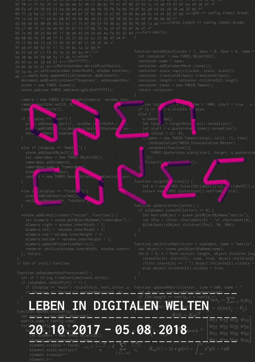 Black cover with pink and white font. White codes in the background.